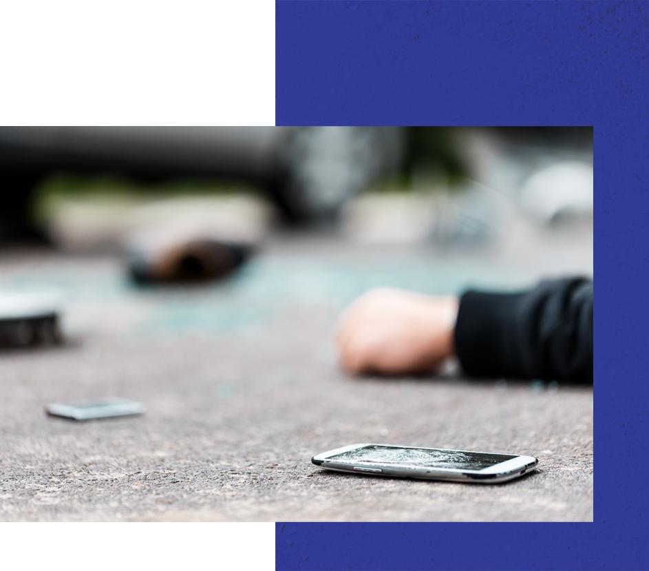scene of car and pedestrian crash