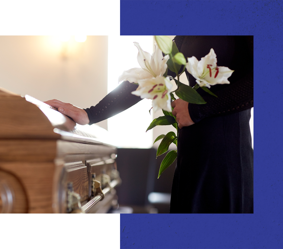 wrongful death funeral woman with hand on coffin